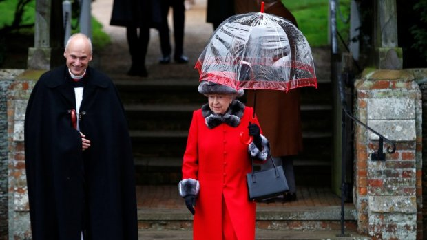 HRH Queen Elizabeth leaves after attending the Christmas Day service at church in Sandringham, Norfolk in 2015