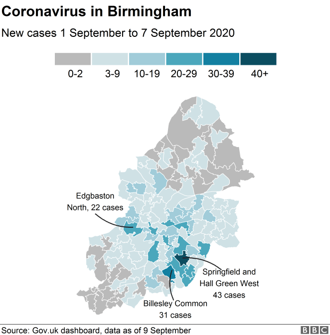Map of coronavirus in Birmingham