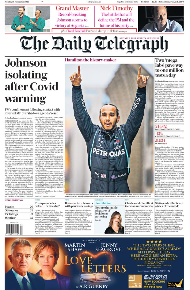 Daily Telegraph Monday 16 Nov