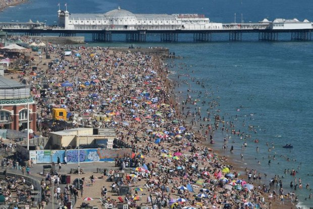 Brighton beach is packed as the South of England basks in a summer heatwave on 7 August 2020.