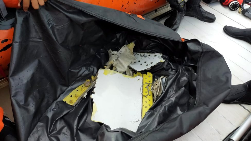 Items discovered believed to belong to the Sriwijaya Air flight SJ182 that disappeared shortly after take-off from Jakarta
