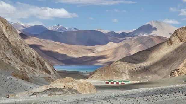 Pangong Lake (Pangong Tso) (seen in the distance in Ladakh, Jammu and Kashmir, India).