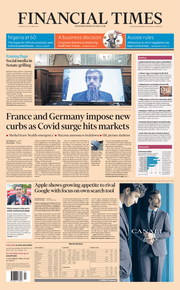 Financial Times front page 29/10/20