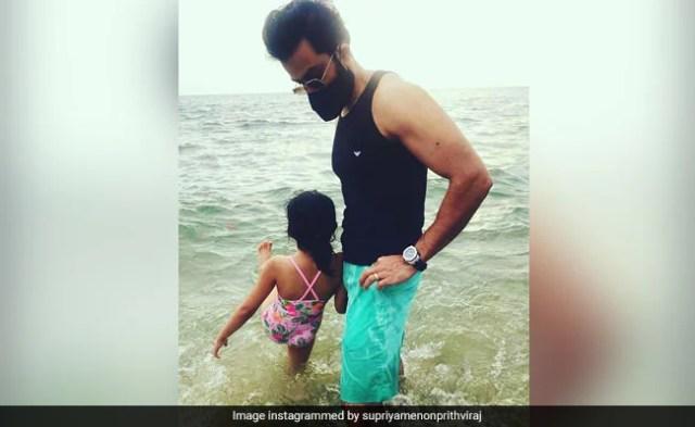 Inside Prithviraj's Beach Outing With Wife Supriya And Daughter Alankrita