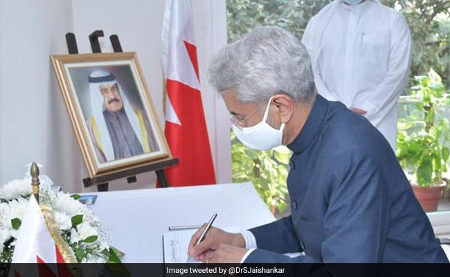 S Jaishankar Signs Condolence Book On Bahrain PM's Death