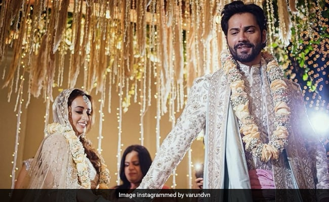 Varun Dhawan and Natasha Dalal are Married.  First Photo Shoot from Alibaug Wedding