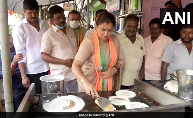 BJP's Khushbu Sundar Cooks Dosas While Campaigning For Tamil Nadu Polls