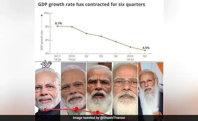 कांग्रेस नेता शशि थरूर ने नरेंद्र मोदी की दाढ़ी से ऐसे की भारत की जीडीपी की तुलना