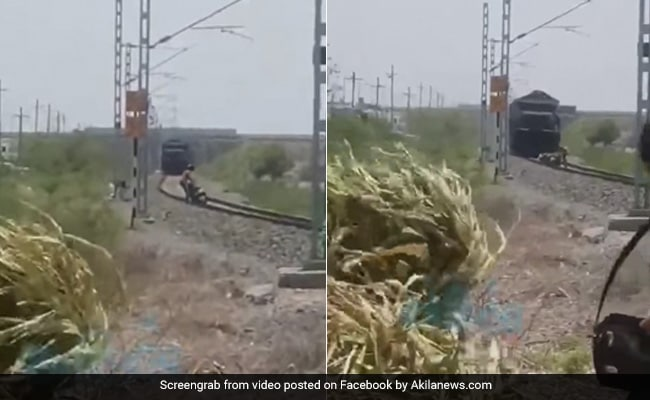 Watch: Man Doing Stunts On Railway Tracks Surprised By Oncoming Train. Then...