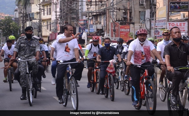 Watch: Assam Chief Minister Leads Cycle Rally, Supports Boxer At Olympics
