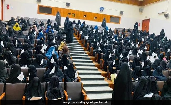 Afghan Women Forced To Gather At Pro-Taliban Protest At University