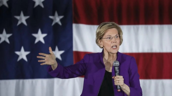 NEW YORK, NY - MARCH 08: Sen. Elizabeth Warren (D-MA), one of several Democrats running for the party's nomination in the 2020 presidential race, speaks during a campaign event, March 8, 2019 in the Queens borough of New York City. On Friday, Warren released a new regulatory proposal aimed at breaking up some of the nation's biggest technology companies, including Amazon, Google and Facebook. Warren's event on Friday evening took place less than a mile from where Amazon had previously planned to open a new headquarters in Long Island City before pulling out of the deal last month after critics said the city gave them excessive government incentives. (Photo by Drew Angerer/Getty Images)