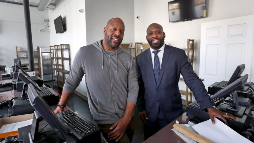 BOSTON, MA - 3/03/2020: Pure Oasis located at 430 Blue Hill Avenue, Boston..... L-R co-owners Kobie Evans and Kevin Hart overcame lots of challenges to become the first economic empowerment applicants to open a pot store in the state, and the first cannabis shop in Boston. Final works are in progress to finish the store's preparations to open in the next week or two.  (David L Ryan/Globe Staff ) SECTION: Marijuana TOPIC:699