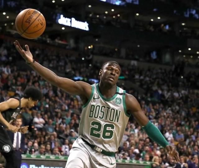 Boston Ma  Boston Celtics Jabari Bird Hauls In A Defensive Rebound