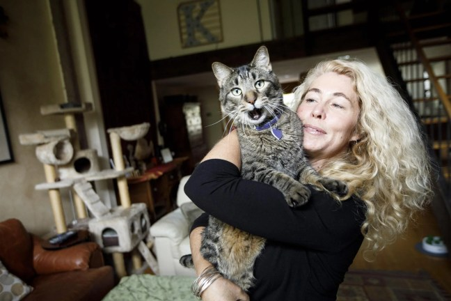 Newburyport, MA - 5/10/2017 - Kit Lily poses for portrait with her cat Randall at her home in Newburyport, MA, May 10, 2017. Lily is one of the founders Charles River Alleycats, an organization that traps stray and feral cats for neutering and spaying. (Keith Bedford/Globe Staff)