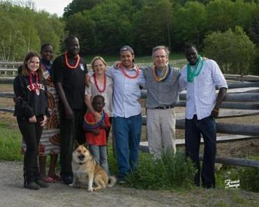From left: Caeli Cavanagh, Yar Ayuel, Emmanuel Deng, their son Deng with Susan Peters, Ryan Cavanagh, Patrick Cavanagh, and Yar's brother John Ayuel, marking some graduations in Vermont.