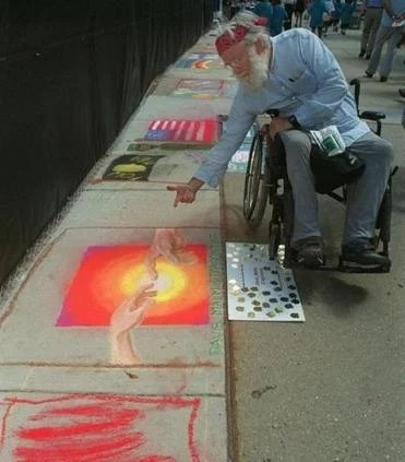 "Bob Guillemin, also known as ""Sidewalk Sam,"" created chalk and paint artwork in the streets."