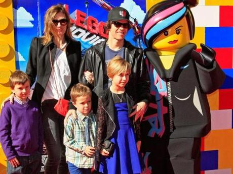 Rhea Durham and Mark Wahlberg with three of their children in Westwood, Calif.