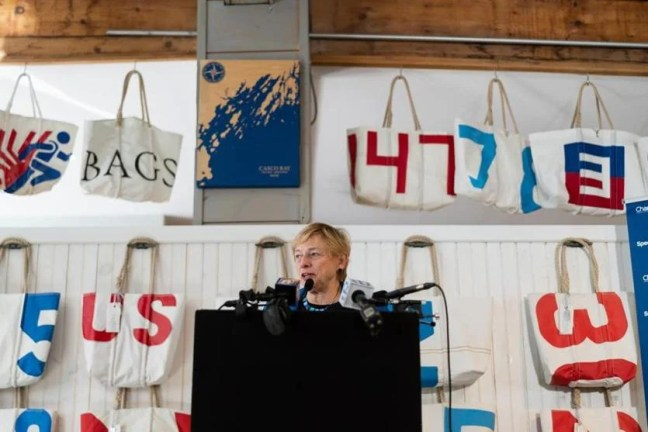 Portland, ME, United States -- Maine Governor Elect Janet Mills speaks during a press conference at Sea Bags, where the governor spoke about the economic impact of Charter's new gigabit connections in Maine, in Portland, ME on Thursday, December 20, 2018. Sea Bags is a customer for Charter, a cable company that serves Maine. (Yoon S. Byun for the Boston Globe) Slug: 21maine Reporter: Michael Levenson LOID: 8.4.4175526464