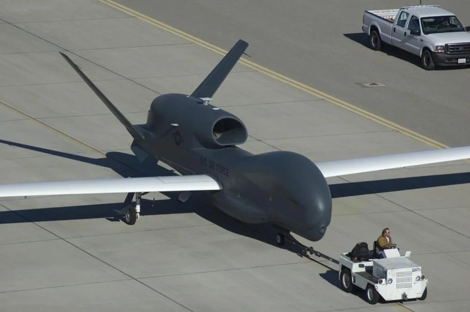 A Global Hawk drone was towed at Grand Forks Air Force Base in North Dakota.