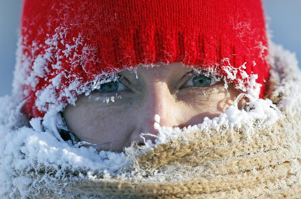 As captioned in the Boston Globe:   Reuters  Frozen breath formed ice around the face of a Minneapolis resident on Wednesday.
