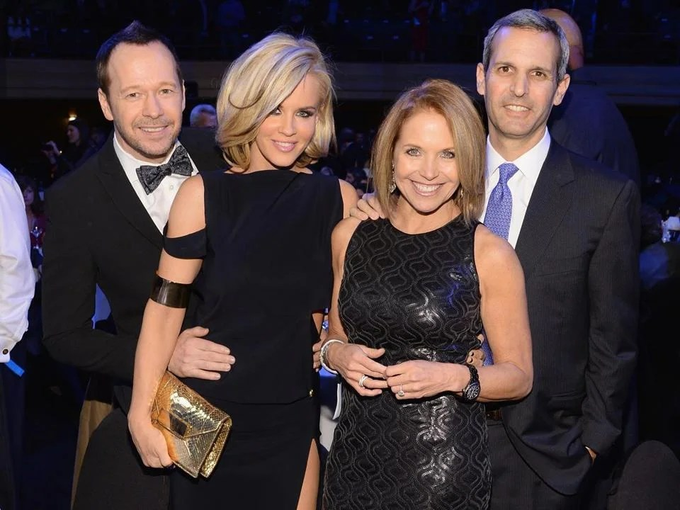 From left: Donnie Wahlberg, Jenny McCarthy, Katie Couric and fiance John Molner at Howard Stern's 60th birthday party in New York.