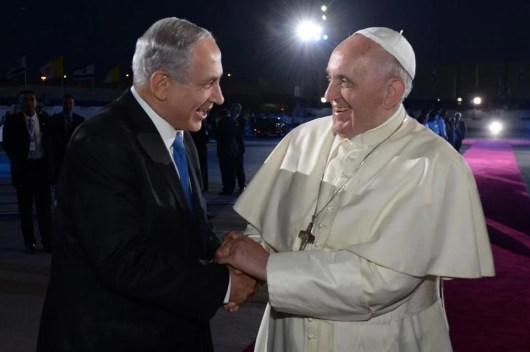 Pope Francis and Israeli Prime Minister Benjamin Netanyahu said goodbye at Ben Gurion Airport outside Tel Aviv at the end of the pope's visit to the Holy Land in May 2014.