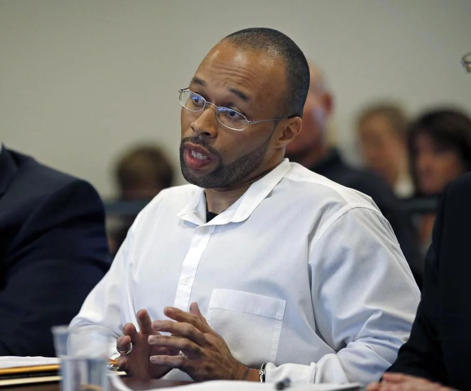 Frederick Christian, shown during a May 29 hearing before the state's parole board, faces prerelease steps.