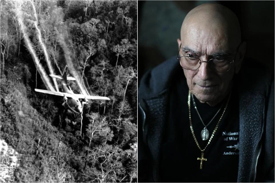 At left, a plane dropping Agent Orange over Vietnam. Richard Matte flew such planes on domestic missions and believes he was exposed to the deadly herbicide.