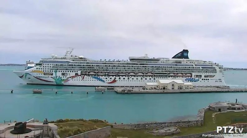The Norwegian Dawn cruise ship was docked at Heritage Wharf in Bermuda on Wednesday.