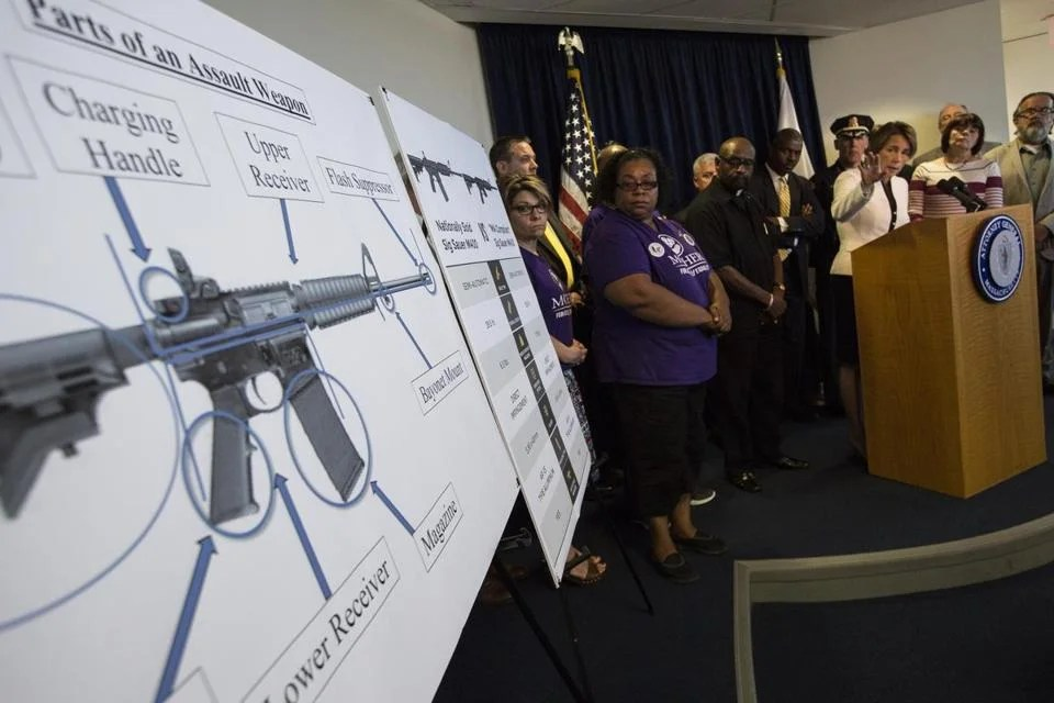 Maura Healey spoke at a 2016 press conference announcing the enforcement of a ban on the sale of copycat assault weapons.
