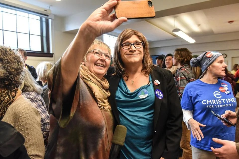 Hallquist campaigned in Montpelier on Sunday.