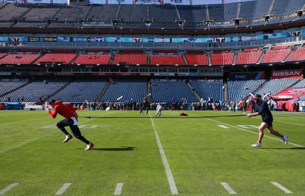 Nashville TN 11/11/18 New England Patriots Chris Hogan (left) and Julian Edelman warmed up before playing Tennessee Titans on Nissan Field. (Photo by Matthew J. Lee / Globe staff) Subject: reporter: