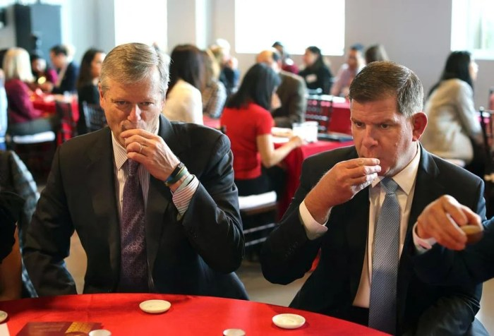 Governor Charlie Baker and Boston Mayor Martin J. Walsh sipped their tea.