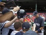 Derek Jeter signed some autographs before an Aug. 3 game against the Red Sox at Fenway Park.