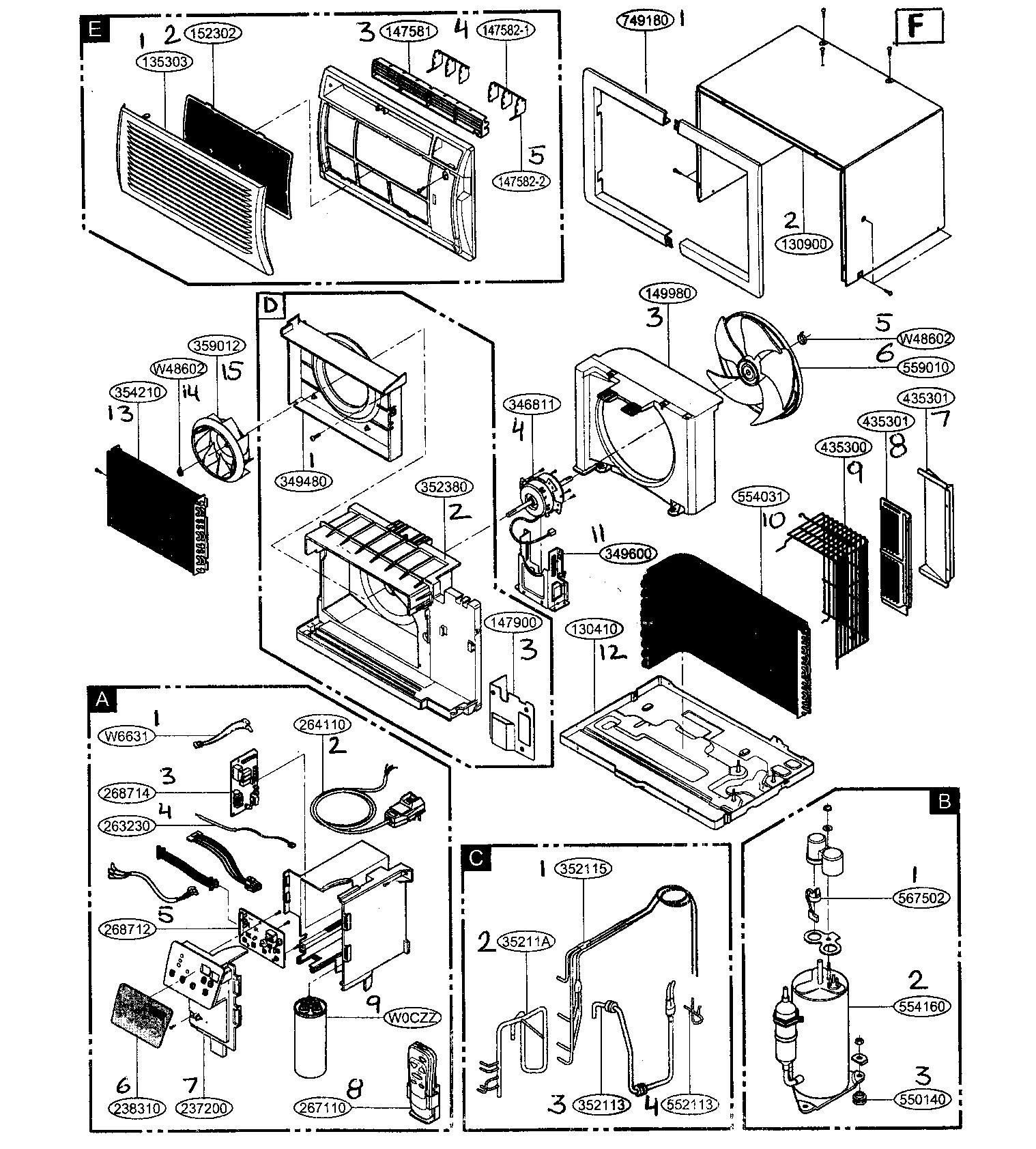 Friedrich model us10b10a air conditioner room genuine parts rh searspartsdirect basic ac wiring diagrams ac motor wiring diagram
