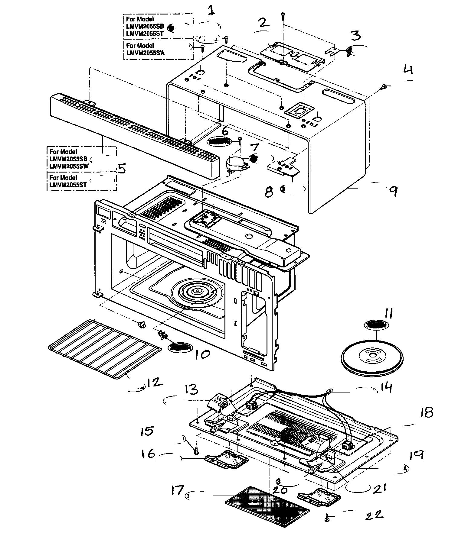 lg lmvm2055st microwave hood combo
