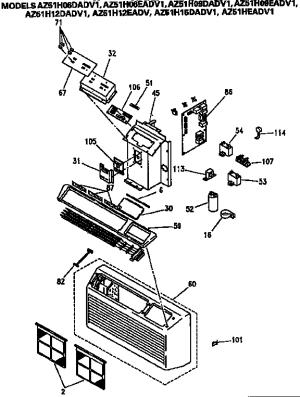 GE SANYO ZONELINE Parts   Model az51h12dadv1   Sears