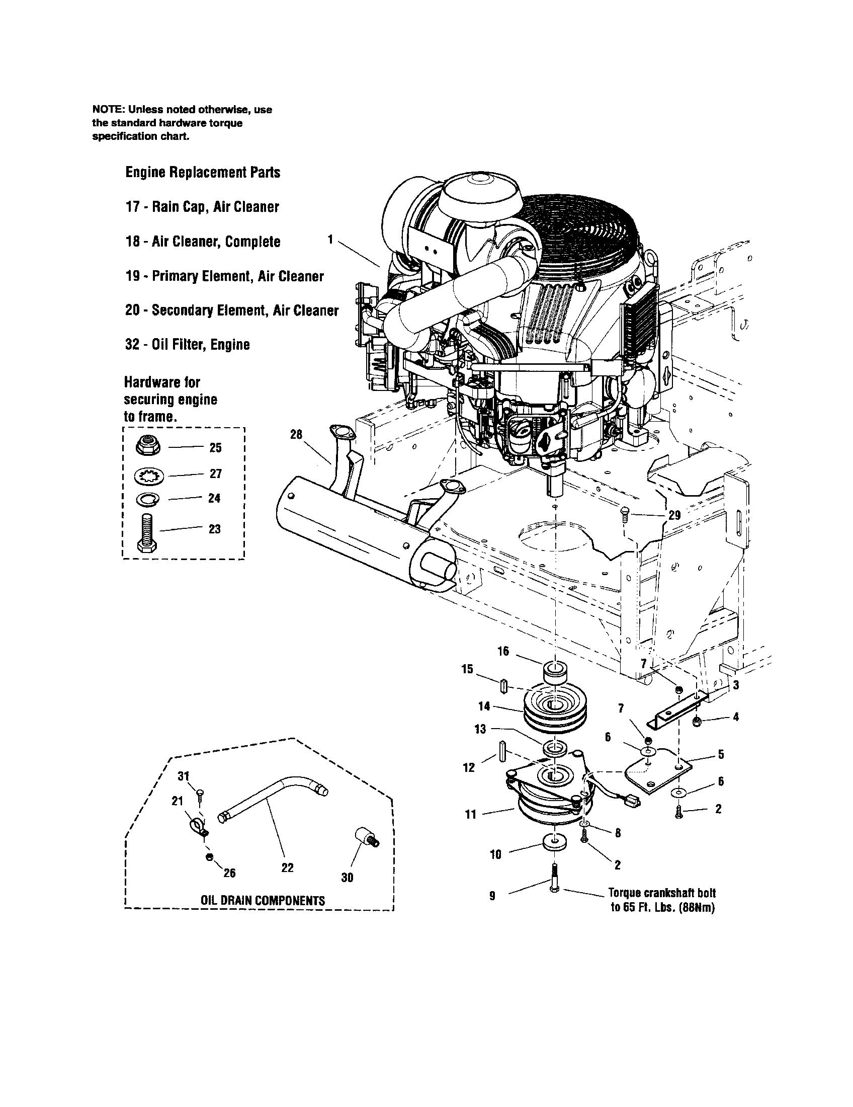 Snapper zero turn riding mower engine pto 32 hp briggs stratton parts