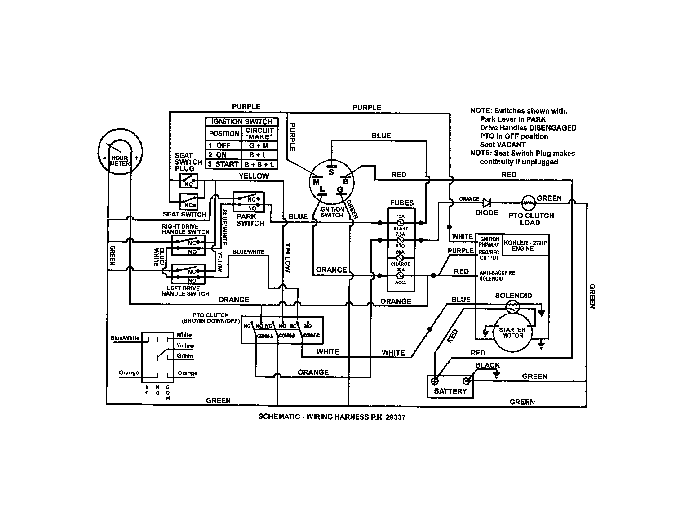 WIRING SCHEMATIC (KOHLER ENGINE) Diagram & Parts List For