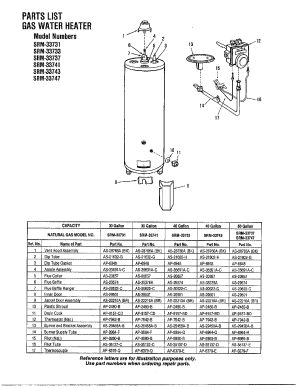 GAS WATER HEATER Diagram & Parts List for Model 33831
