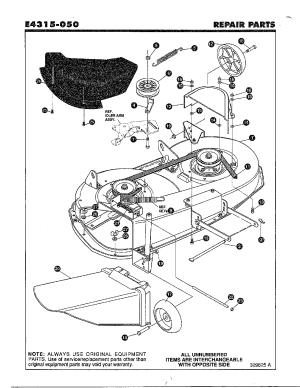 FINAL DECK ASSEMBLY Diagram & Parts List for Model