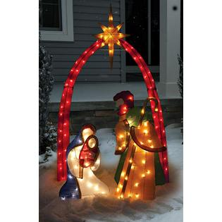 Home Accent Inspiring Tinsel Lighted Holy Family Nativity