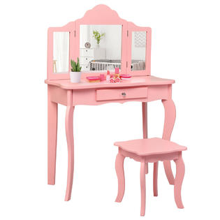 costway kids vanity table stool
