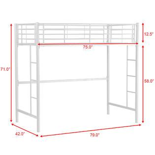 Gymax New Twin Loft Bed Metal Bunk Ladder Beds Boys Girls