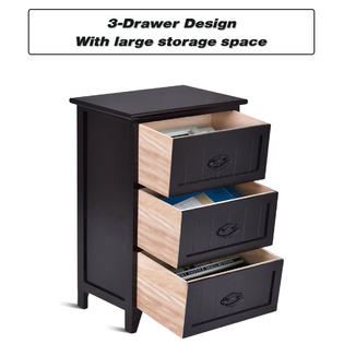 gymax 2pcs 3 drawers nightstand end