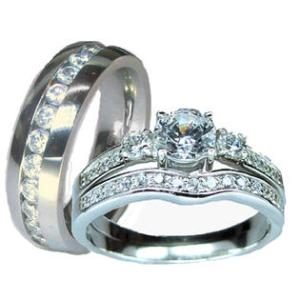 Edwin Earls Her   His Sterling Silver and Stainless Steel Cz Wedding     Edwin Earls Her   His Sterling Silver and Stainless Steel Cz Wedding Ring  Set
