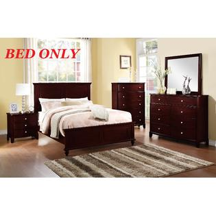 Headboard Footboard Frame Esofastore Bedroom Dark Brown Wood bed frame Headboard Footboard  rectangular sketched California King Size Bed Modern