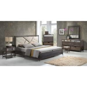 Queen Pier Wall Unit Bedroom Set Acme United Queen Size Bedroom 4pc Set Gray Finish Cream Padded Fabric  Bedroom Furniture