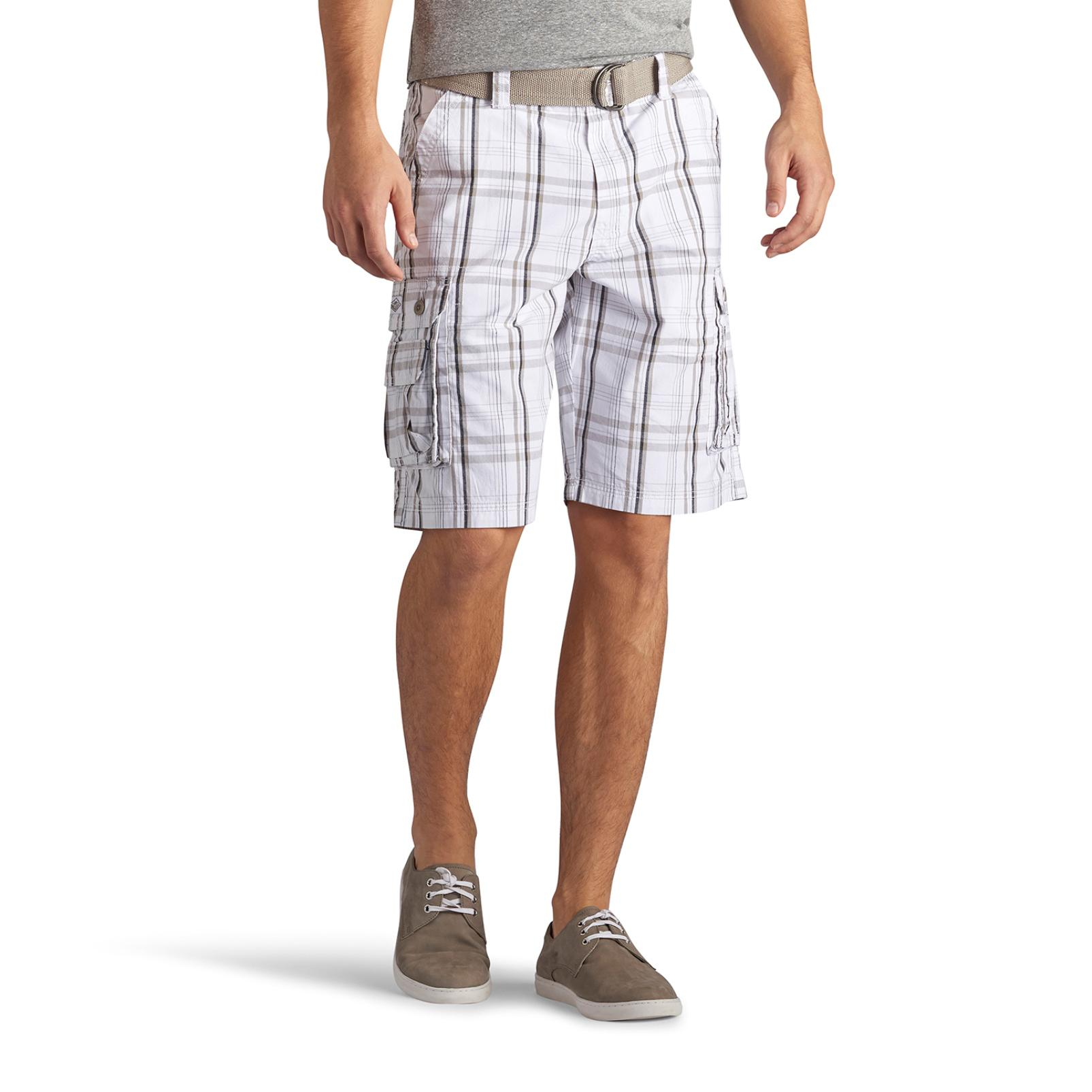 LEE Mens Wyoming Belted Cargo Shorts Plaid
